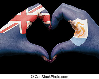 turista, gesto, hecho, por, bandera de la anguila, coloreado, manos, actuación, símbolo, de, corazón, y, amor