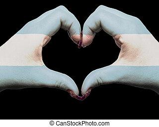 turista, gesto, hecho, por, señalador de argentina, coloreado, manos, actuación, símbolo, de, corazón, y, amor