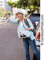 turista, granizar un taxi, en, el, calle