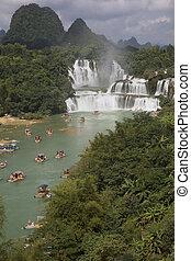 turista, guangxi, detian, indicatore, porcellana, cascate, barche, provincia