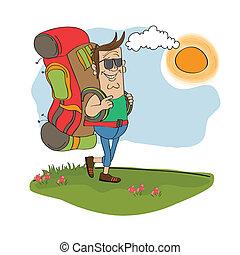 turista, homem, viajando, com, mochila