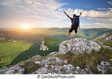 turista, in, mountain.