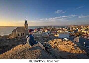turista, luderitz, cima, namibia, colina, ocaso, goza, vista