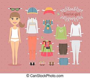 turista, menina, boneca papel, com, roupas, e, sapatos