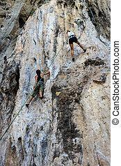 turista, montañismo, en, montaña