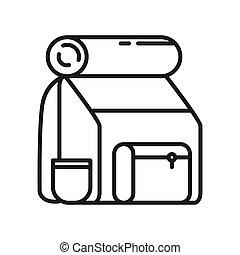 turista, paquete espalda, ilustración, diseño