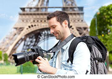 turista, parís, cuadros, toma, joven, atractivo