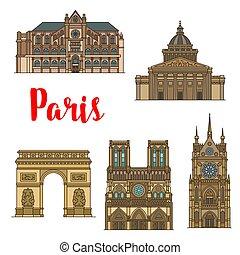 turista, parís, viaje, francés, vista, señal, icono