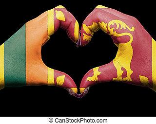 turista, perú, hecho, por, bandera de lanka de sri, coloreado, manos, actuación, símbolo, de, corazón, y, amor