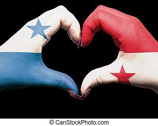 turista, perú, hecho, por, bandera de panamá, coloreado, manos, actuación, símbolo, de, corazón, y, amor