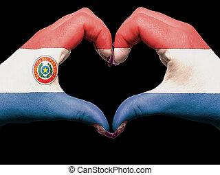 turista, perú, hecho, por, bandera de paraguay, coloreado, manos, actuación, símbolo, de, corazón, y, amor