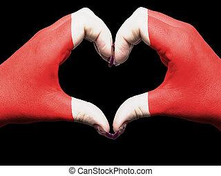 turista, perú, hecho, por, bandera de puerto rico, coloreado, manos, actuación, símbolo, de, corazón, y, amor