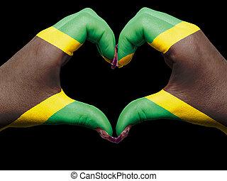 turista, perú, hecho, por, bandera jamaica, coloreado, manos, actuación, símbolo, de, corazón, y, amor