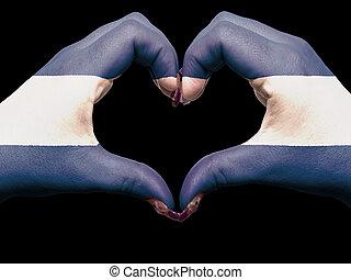 turista, perú, hecho, por, nicaragua bandera, coloreado, manos, actuación, símbolo, de, corazón, y, amor