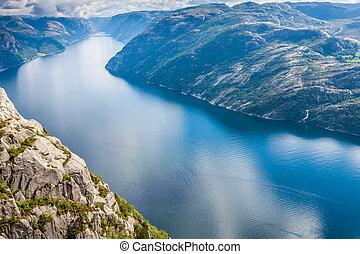 turista, poço, atração, lysefjorden, rocha, sabido,...