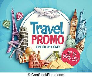 turista, promo, viaggiare, mondo, famoso, vettore, disegno, bandiera, limiti