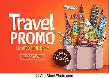 turista, promo, viaggiare, mondo, famoso, vettore, sagoma, bandiera, limiti
