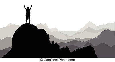 turista, silhouette, arrampicatore, ragazza