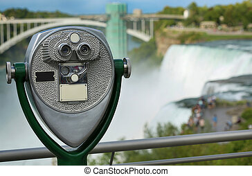 turista, stati uniti, visore, binoculare, cadute, niagara, york, nuovo, stato