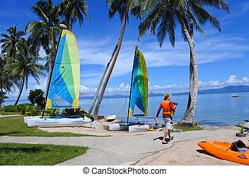turista, su, viaggiare, vacanza, vacanza, in, tropicale, ricorso, in, figi