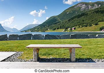 turista, tabla, en, el, fiordo, orilla, noruega