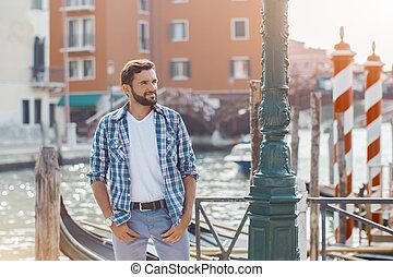 turista, veneza, viagem, italy., bonito, homem
