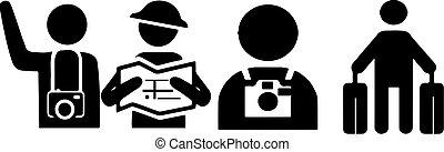 turista, vetorial, ilustração, fundo, isolado