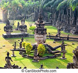 turista, vientiane, viagem, parque, famosos, laos., buddha,...