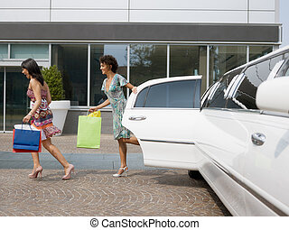 turistas, con, bolsas de compras