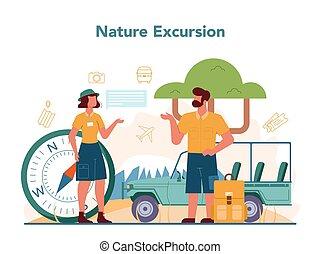 turistas, férias, excursão, concept., história, cidade, escutar, guia
