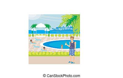 turistas, piscina