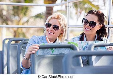 turistas, toma, cima abierta, autobús, viajar, la ciudad