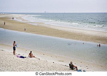 turisti, spiaggia, golfo, costa