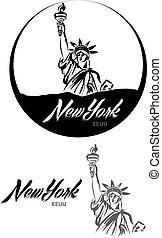 turistic, etichetta, eeuu, york, lettera, nuovo