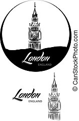 TURISTIC LABEL london ENGLAND lettering illustration