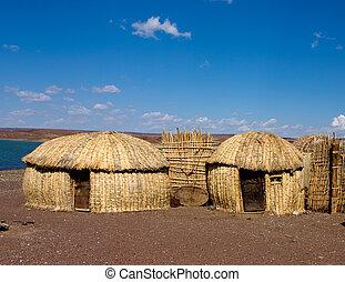 turkana, africano, lago, tradizionale, capanne, kenia