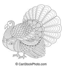 Turkey 2016 - Detailed zentangle turkey for coloring page...