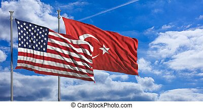 Turkey and America waving flags on blue sky. 3d illustration