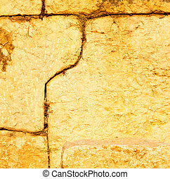 turkey and cracked step brick in old wall texture material the background