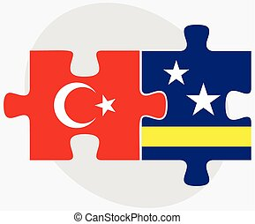 Turkey and Curacao Flags in puzzle isolated on white ...