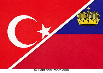 Turkey and Liechtenstein, symbol of country. Turkish vs Liechtensteiner national flags.
