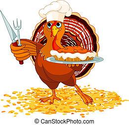 Turkey and Pie - Thanksgiving turkey serving pumpkin pie