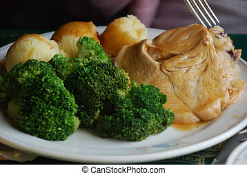 Turkey and Veggies - A Plate of Turkey, Broccoli and Mashed...