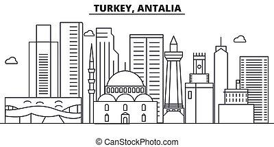 Turkey, Antalia architecture line skyline illustration....