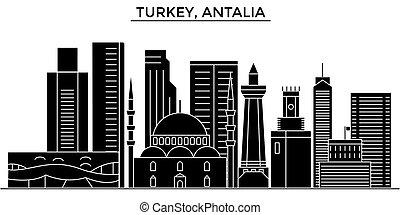 Turkey, Antalia architecture vector city skyline, travel...