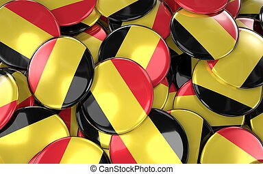 Turkey Badges Background - Pile of Belgian Flag Buttons.