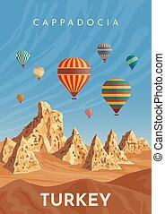 turkey., balloon, cappadocia, air, chaud, vendange, voyage, affiche, flight., retro, banner.