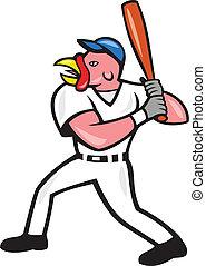 Turkey Baseball Hitter Batting Isolated Cartoon