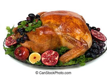 Turkey - Beautifully decorated golden roasted turkey.