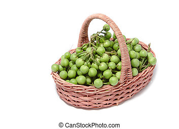 turkey berry in the basket isolated on white background